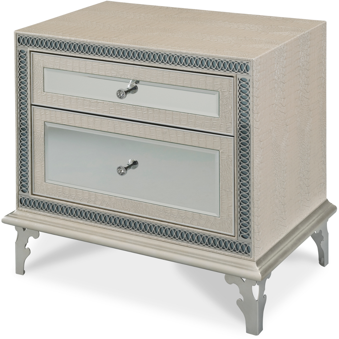 AICO Michael Amini Hollywood Swank Nightstand In Crystal Croc Qty: $1,299.00