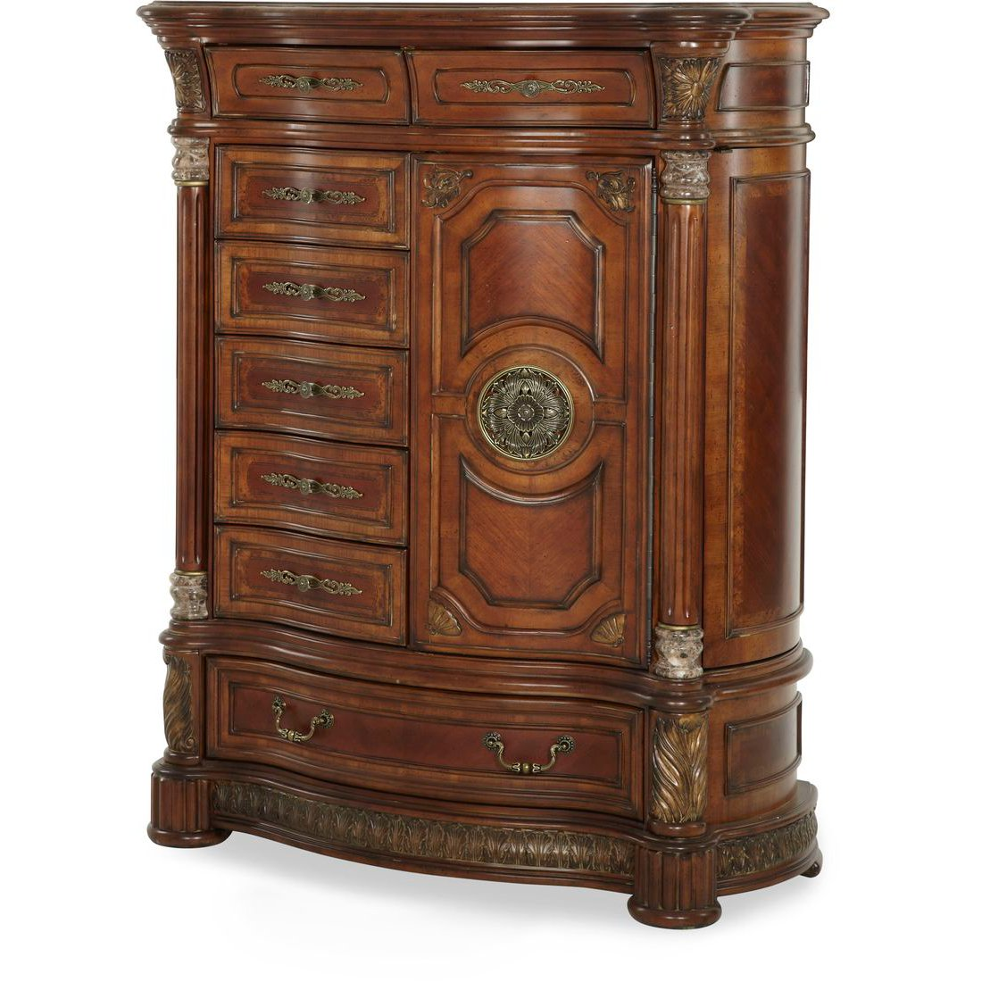 Valencia Carved Wood Traditional Bedroom Furniture Set 209000: Aico Michael Amini Villa Valencia Canopy Bedroom Set In