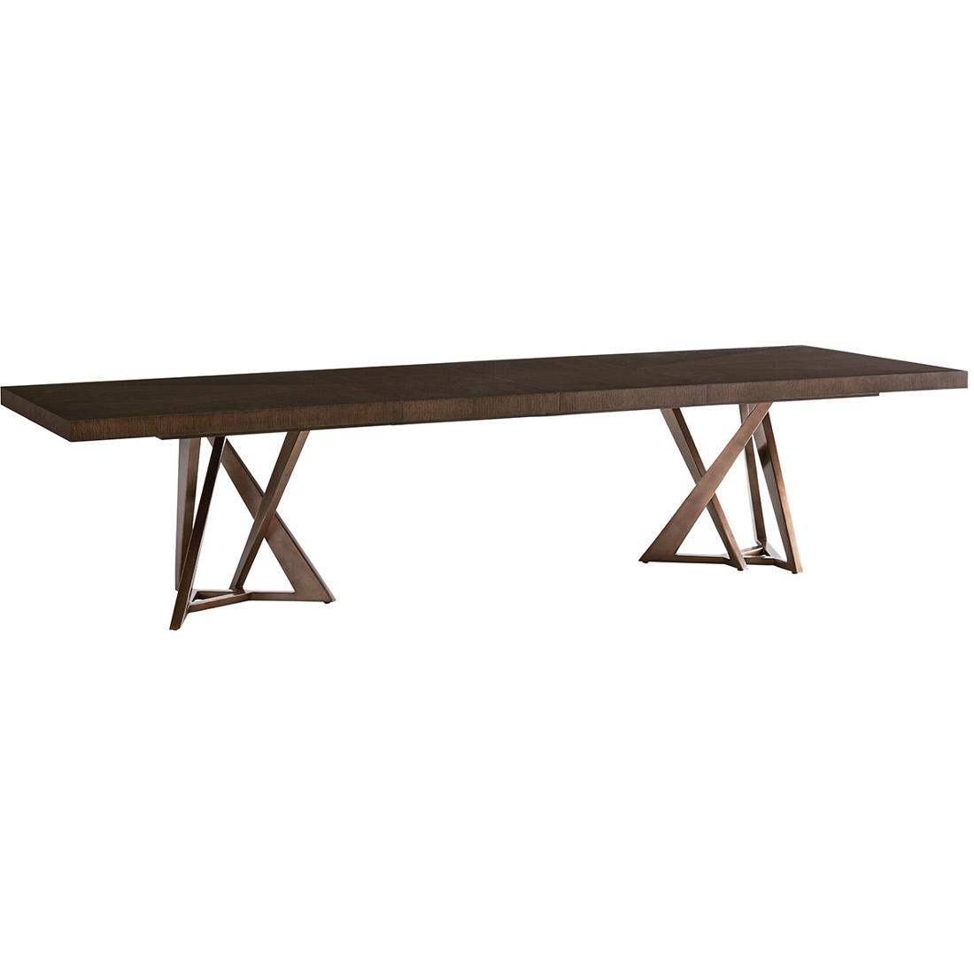 lexington zavala loggia rectangular double pedestal dining table set