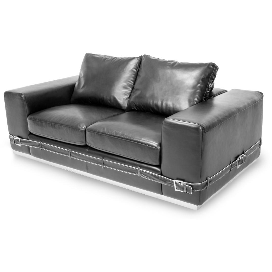 AICO Michael Amini Mia Bella Ciras Leather Mansion Sofa