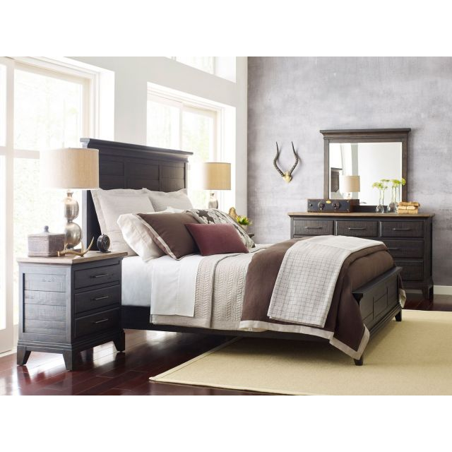 Kincaid Furniture Plank Road Jessup Panel Queen Bedroom Set in Charcoal