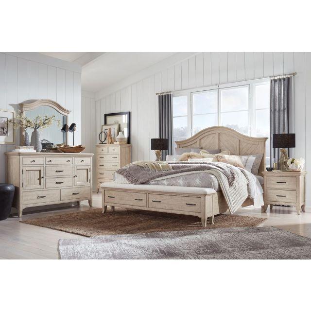 Magnussen Harlow Panel Storage Bedroom Set in Weathered Bisque