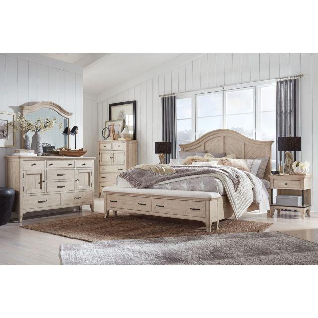 Magnussen Harlow Panel Storage Bedroom Set in Weathered Bisque B5491-05