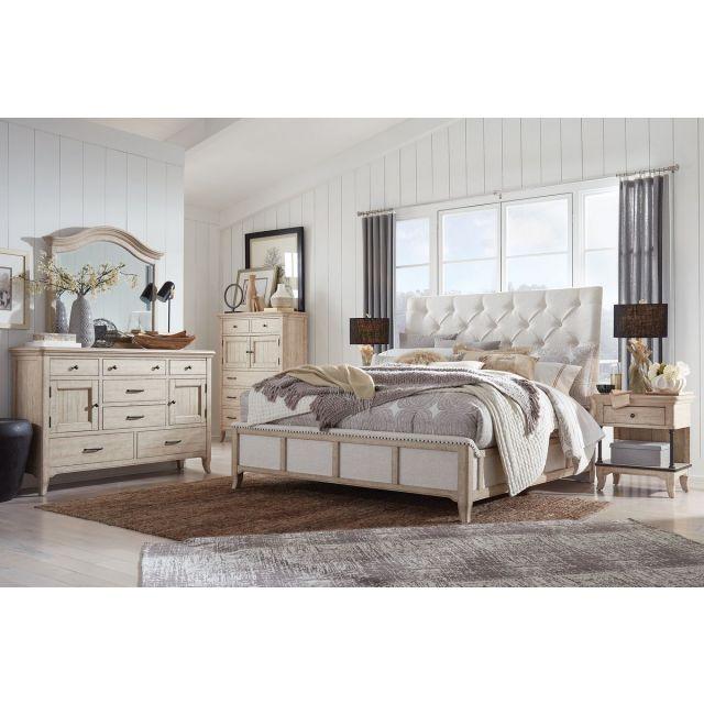 Magnussen Harlow Sleigh Upholstered Bedroom Set in Weathered Bisque B5491-05