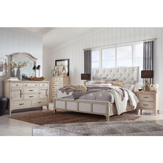Magnussen Harlow Sleigh Upholstered Bedroom in Weathered Bisque