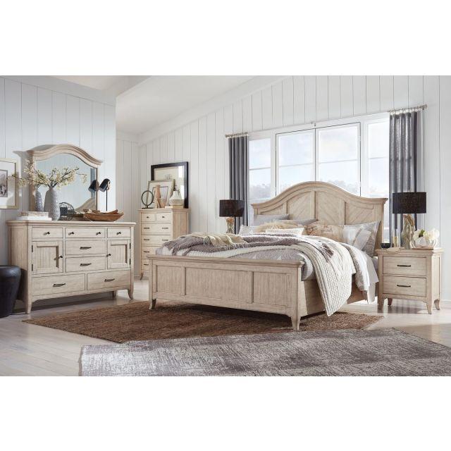 Magnussen Harlow Panel Bedroom Set in Weathered Bisque