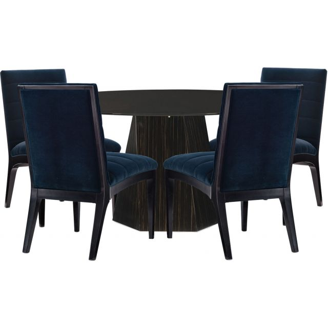"""Caracole Modern Edge Vector Dining Table Set 60"""" Round Tinted Glass Top"""