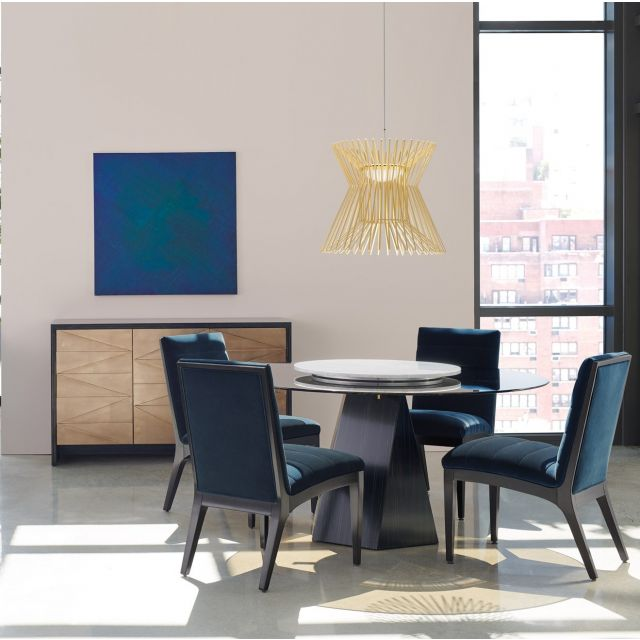 """Caracole Modern Edge Vector Dining Table Set 60"""" Round Tinted Glass Top With Lady Suzan"""