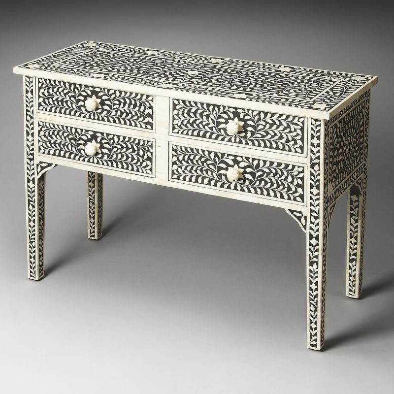 Butler Bone Inlay Vivienne Black Bone Inlay Console Table | Unlimited  Furniture