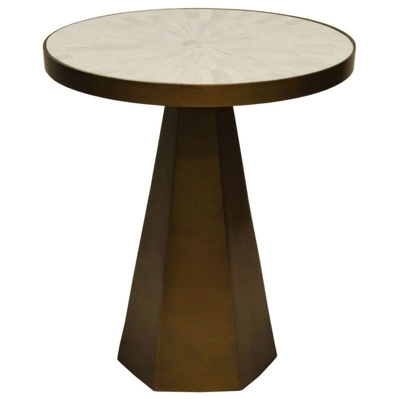 Worlds Away Woodrow Antique Brass Side Table With White Marble Top Unlimited Furniture