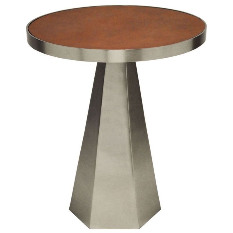 Worlds Away Woodrow Antique Nickel Side Table With Faux Brown Leather Top Unlimited Furniture