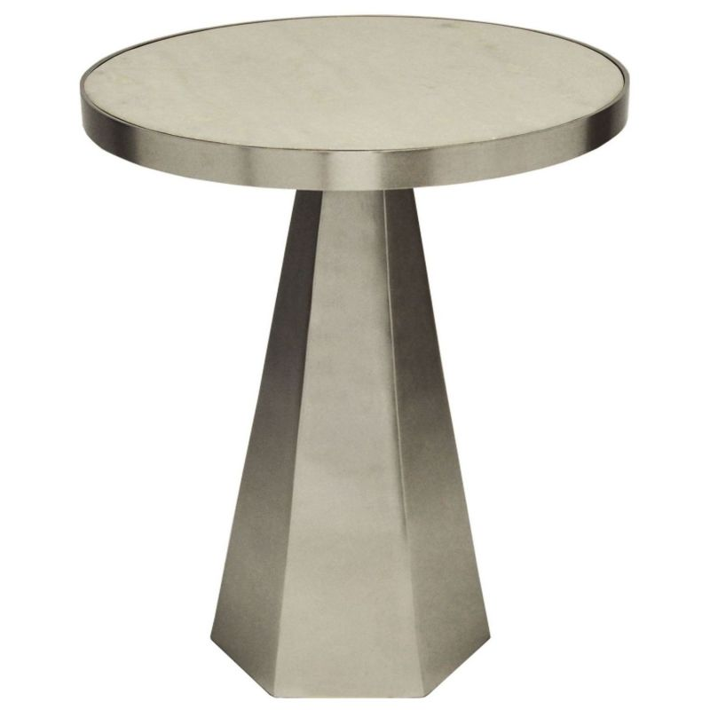 Worlds Away Woodrow Antique Nickel Side Table With White Marble Top Unlimited Furniture