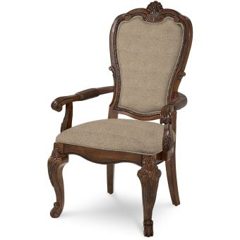 A.R.T. Furniture Old World Upholstered Back Arm Chair in Medium Cherry - Set of 2 (CL1A) - CLEARANCE SALE