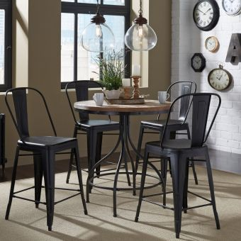 Liberty Furniture Vintage Pub Set with Bow Back Counter Chair in Weathered Gray