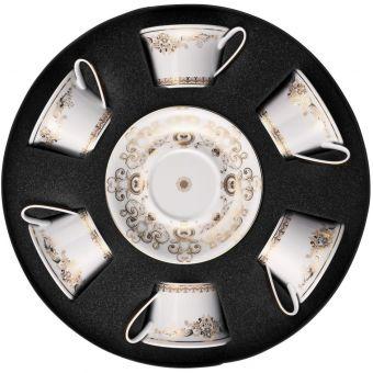 Versace Medusa Gala Gold Low Cups/Tea Cups & Saucers - Set of Six