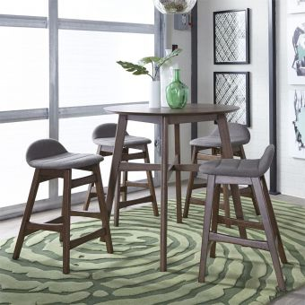 Liberty Furniture Space Savers Gathering Table with Gray Barstool Set