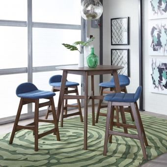 Liberty Furniture Space Savers Gathering Table with Blue Barstool Set
