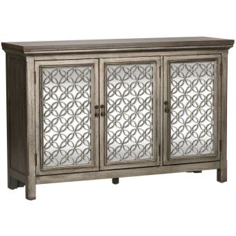 Liberty Furniture Westridge Three Door Accent Cabinet in Wire Brushed Gray