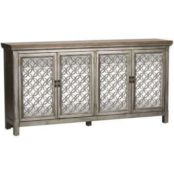 Liberty Furniture Westridge Four Door Accent Cabinet in Wire Brushed Gray