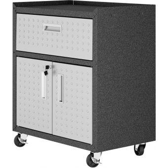 "Manhattan Comfort Fortress Textured Metal 31.5"" Garage Mobile Cabinet in Grey"