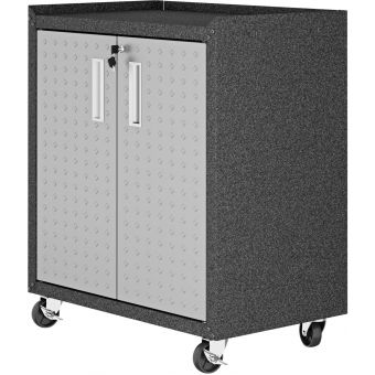 "Manhattan Comfort Fortress Textured Metal 31.5"" Garage Mobile Cabinet with 2 Adjustable Shelves in Grey"