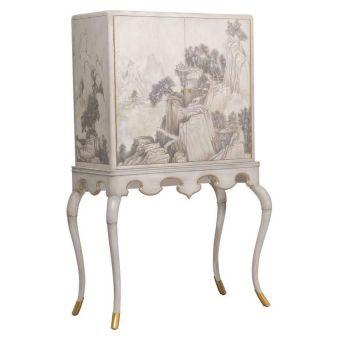 Maitland-Smith Lacca Veneziana Bar Cabinet