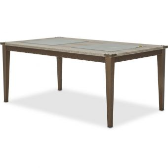 AICO Michael Amini Valise 4 Leg Retangular Dining Table with Glass Insert (CL1A) - CLEARANCE SALE