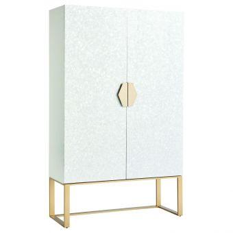 Miranda Kerr Home Love Joy Bliss Opaline Bar Cabinet in White Lacquer