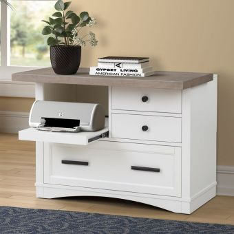 Parker House Americana Modern Functional File with Power Center in Cotton