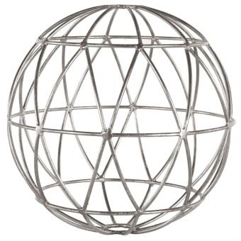 Worlds Away Geometric 9 Inch Sphere in Silver Leaf (CL1A) - CLEARANCE SALE