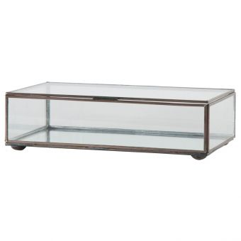 Worlds Away Small Rectangular Box with Clear Glass