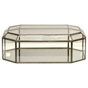 Worlds Away Octagonal Clear Glass Box