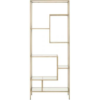 Essentials For Living District Beakman Bookcase in Brass, Clear Glass