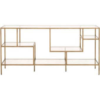 Essentials For Living District Beakman Low Bookcase Brass, Clear Glass