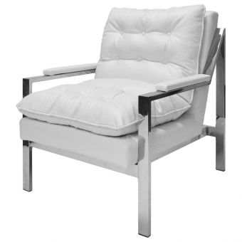 Worlds Away Cameron Nickel Armchair in White Ostrich (CL1A) - CLEARANCE SALE