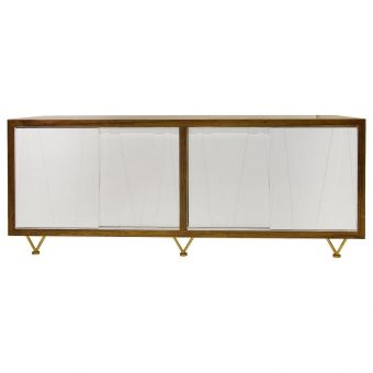 Worlds Away Crisscross Rosewood Veneer & White Lacquer Entertainment Cabinet (CL1A) - CLEARANCE SALE