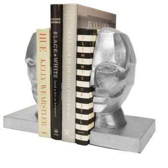 Worlds Away Edmund Profile Bookends in Silver Leaf (CL1A) - CLEARANCE SALE