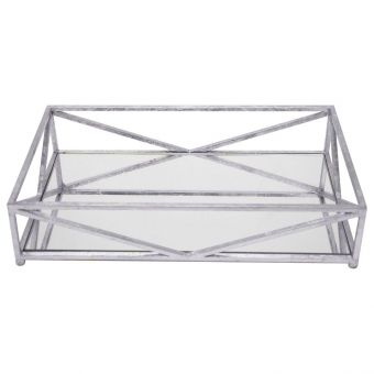 Worlds Away Gavin Iron Tray in Silver Leaf with Inset Mirror (CL1A) - CLEARANCE SALE