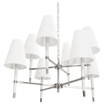 Worlds Away Hines Two Tier Chandelier in Nickel and White (CL1A) - CLEARANCE SALE