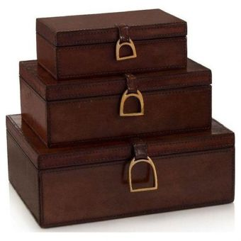John Richard Set of Three Lacquered Hazel Leather Boxes
