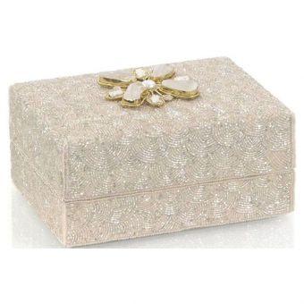 """John Richard Hand-Beaded Box with Moonstone - 8.25"""""""
