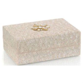 """John Richard Hand-Beaded Box II with Moonstone - 12.25"""""""