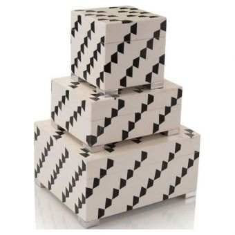 John Richard Set of Three Black-and-White Boxes