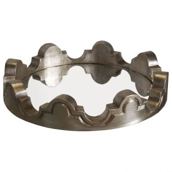 Worlds Away Juliana Silver Leaf Wood Scalloped Tray with Mirror Inset (CL1A) - CLEARANCE SALE