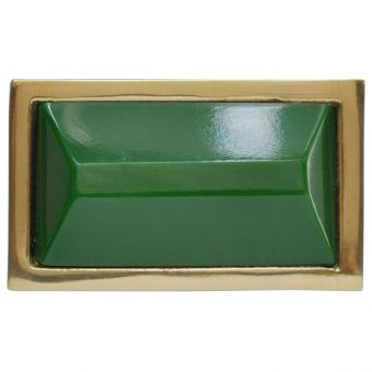 Worlds Away Koda Small Brass Rectangle Knob with Inset Resin in Green (CL1A) - CLEARANCE SALE