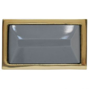 Worlds Away Koda Small Brass Rectangle Knob with Inset Resin in Grey (CL1A) - CLEARANCE SALE