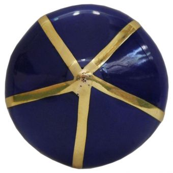 Worlds Away Miranda Pointed Knob with Brass Detail in Blue (CL1A) - CLEARANCE SALE