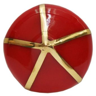 Worlds Away Miranda Pointed Knob with Brass Detail in Red (CL1A) - CLEARANCE SALE