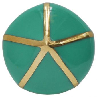 Worlds Away Miranda Pointed Knob with Brass Detail in Teal (CL1A) - CLEARANCE SALE