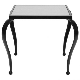Worlds Away Moseley Square Side Table with Black Powder Coat Frame